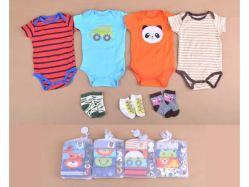 Carter's Blue Fly November L Boy Bodysuit Lengan Pendek + Socks - BY756